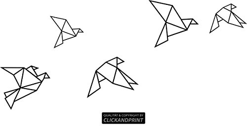 CLICKANDPRINT Aufkleber » Papiervögel/Origami, 40x17,8cm, Schwarz • Wandtattoo/Wandaufkleber/Wandsticker/Wanddeko/Vinyl