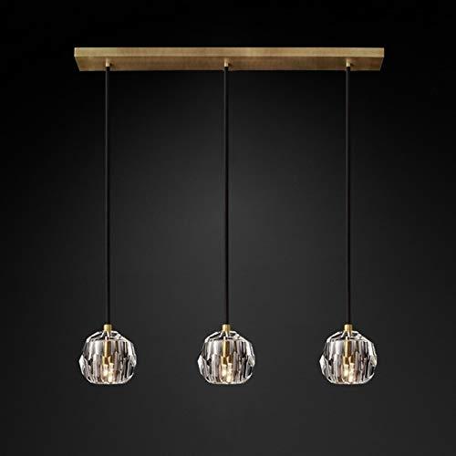 Lámpara El cristal claro Restaurante Cafetería Cocina lámpara colgante cable ajustable G9 110-220V Inicio Lámpara de suspensión wall light (Body Color : 3 Lights B)