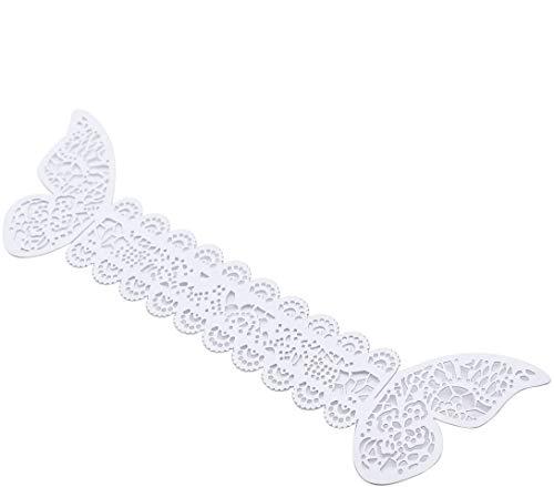 LUOEM Ronds de serviette papillon papier blanc décoration de table mariage 50pcs