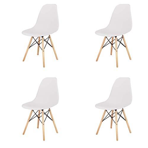 Silla de comedor clásica nórdica con forma de concha de plástico y patas de madera maciza, soporte de metal para cocina, sala de estar, negocios, juego de 4 (blanco, 4)