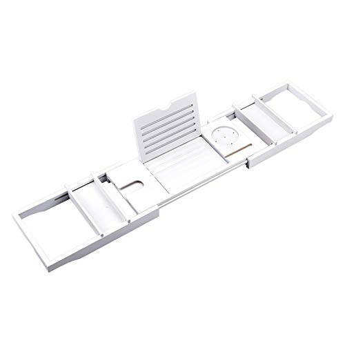 DONG Natural Eco-Friendly Bamboo Bathtub Tray,Bamboo Bathtub Caddy,with Wine Glass Holder, Ipad Stand And More Suitable for Most Baths,White