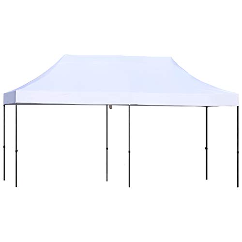 Outsunny 10' x 20' Heavy Duty Pop-Up Canopy with Height Adjustable Button, Portable Roller Bag, Outdoor Party Tent Sun Shelter with UV-Fighting Roof, White
