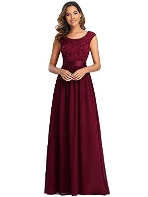 Ever-Pretty Women's Chiffon Cap Sleeve Wedding Party Dress Bridesmaid Gowns Burgundy US20
