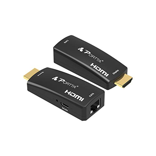 Portta HDMI Extender Extensor 50m(164ft) sobre un Solo Cable UTP RJ45 CAT6 | Transmisión sin pérdida | Full HD 3D 1080p | Micro USB Alimentado | No se Necesita Cable HDMI Adicional | Enchufe y Jugar