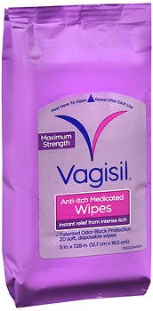 Vagisil Maximum Strength Anti-Itch Medicated Wipes - 20 ct, Pack of 5