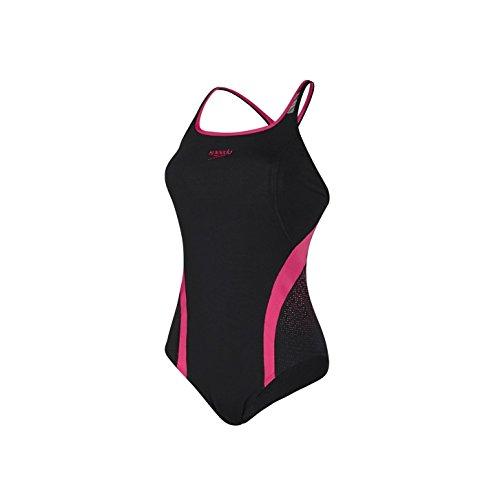 Speedo Competitive Bañador de competición, Mujer, Negro/Rosa, 32 (M)