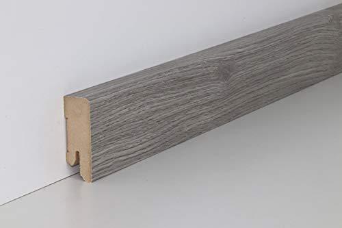 Schnell | Clip Sockelleisten Holzdekor mit Kabelkanal unsichtbare Clip-Befestigung 5cm x 1,8cm x 2,5m geeignet für Feuchträume | Eiche Hellgrau und Rustic Grau