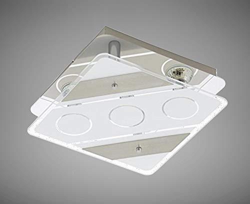Trango 3-flammig 3617-032 LED Deckenstrahler in Eckig *ELSIE* aus Metall mit Design Motive bedrückt Glas-Lampenschirm, Deckenlampe, Wandleuchte, Badlampe inkl. 3x 5 Watt warmweiß GU10 LED Leuchtmittel