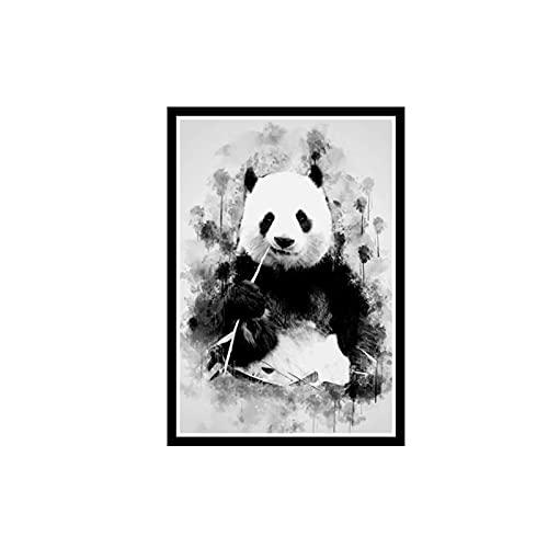 DuanWu Netter Panda, Der Bambus-Kunst-Leinwand-Malerei An Der Wand Isst Dekoratives Bild Für Wohnzimmer-Tier-Plakate Und Drucke Home Decor-50X70 cm No Frame 1 Pcs