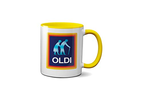 Oldi-Tasse für Geburtstage, Weihnachten, lustiges Geschenk, Feiern, Neuheit, alt, großer robuster Griff, Dino-beschichtet, spülmaschinen-/mikrowellengeeignet, Sublimationsdruck (gelbe Grundierung)