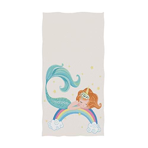 Toalla de mano decorativa para el hogar, ideal para el baño, hotel, gimnasio y spa (40,6 x 76,2 cm), diseño de sirenita en arco iris con estrellas y nube, color blanco