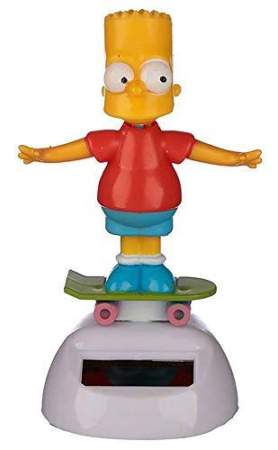 Namenlos Wackelfigur Bart Simpson mit Solar | Lustige Deko-Figur Wackelkopf-Figur für Auto LKW H 10,5 cm