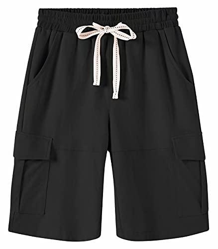 Msmsse Women's Casual Cargo Cotton Shorts Bermuda Elastic Waist Drawstring Plus Size Shorts Pocket Black US M