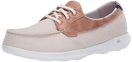 Skechers GO Walk Lite, Zapatillas Mujer, Beige Natural Textile Trim Nat, 37 EU