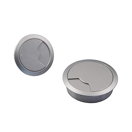 Gedotec Kabeldurchführung Büro-Tisch Kabelausgang Kunststoff DESK rund | Kabeldurchlass silber | Kabelführung zum Eindrücken | Kabeldose Bohr-Ø 60 mm | 2 Stück - Durchführungen für Schreibtische