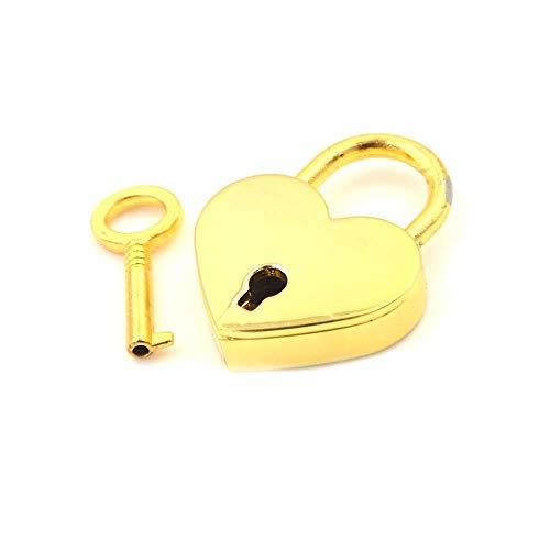 Mini hangslot, zinklegering koffer Locker Hardware Set Liefde Hartvorm Kleine Bagage Bag Case Lock met sleutels Goud