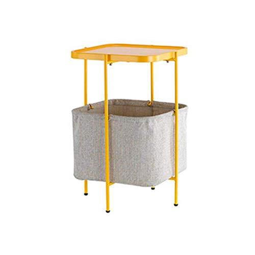 Mesa de cama, Mesas laterales de mesa, mesa de metal, mesa lateral cuadrada / de extremo / soporte de noche / mesa de café Mesa de sofá con bolsa de almacenamiento, 6 colores Cafetería Color: Rosa, Ta