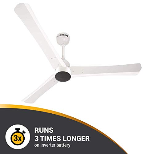 Atomberg Renesa+ 1200 mm BLDC Motor with Remote 3 Blade Anti-Dust Ceiling Fan  (Pearl White, Pack of 1)