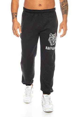 Raff&Taff Herren Hose 'Winter Wolf' M - 4XL | Sporthose Sweatpants Pyjamas Übergrößen Funtionshose Trainingshose Jogginghose | Premium Baumwolle (Schwarz, M)