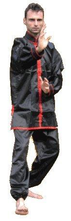 S.B.J - Sportland Kung Fu/Tai Chi Anzug Satin schwarz/rot. 140 cm