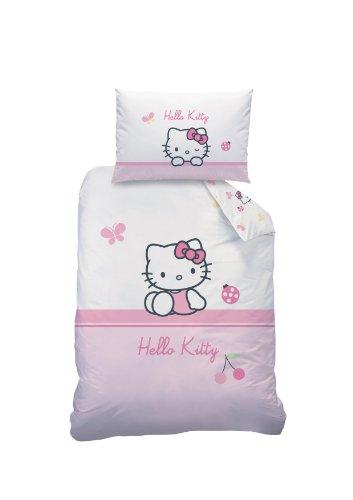 Hello Kitty 041063 Biancheria da letto per bebè Coccinelle, Cotone Linon, 100 x 135 + 40 x 60 cm