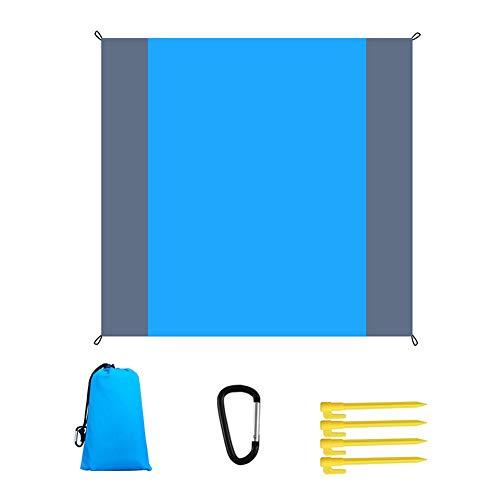 QINGCHU Manta de playa, impermeable, manta de pícnic, ultraligera, compacta, para camping, ligera, con 4 tapones para tienda de campaña para parque, barbacoa, playa, viajes, camping y pícnic.