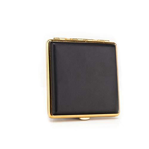 CHENTAOCS Zigarettenetui 20 Sticks, Herren Persönlichkeit kreative Zigarettenetui, Rauchen von schwarzem Leder, Gold/Silber, hohe Qualität Hohe Qualität (Color : Gold)