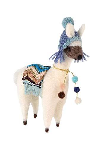 Gift Company - kerstboomversiering, hanger, decoratief figuur - Alpaca met muts en plafond - wit, blauw