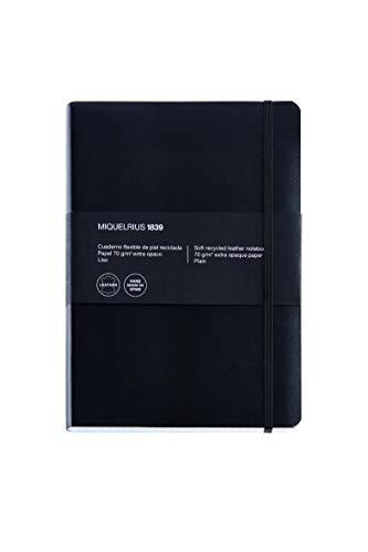 Basicos MR 10402 - Notizbuch mit Ledereinband, biegsam, kariert, 300 Blatt, Schwarz