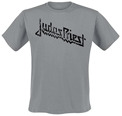 Judas Priest Vintage Logo Hombre Camiseta Gris M, 100% algodón, Regular