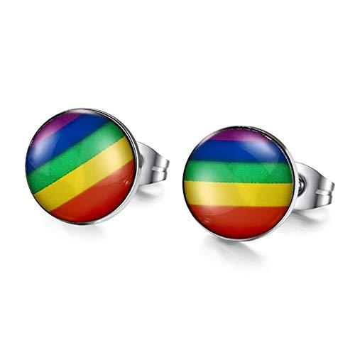 EROSPA® Ohrstecker Rainbow/Regenbogen - Rund - Damen/Herren - Gay Pride Lesbian LGBT - 1 Paar