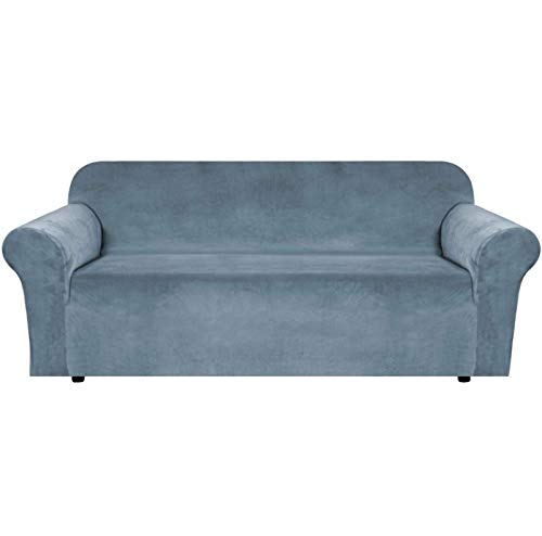FSYGZJ Funda de sofá de Terciopelo de Felpa de Alta Elasticidad, 3/4 Asiento, Adecuada para Muebles de Moda Antideslizantes, Funda de sofá, Lavable a máquina, Azul Piedra, 3 plazas