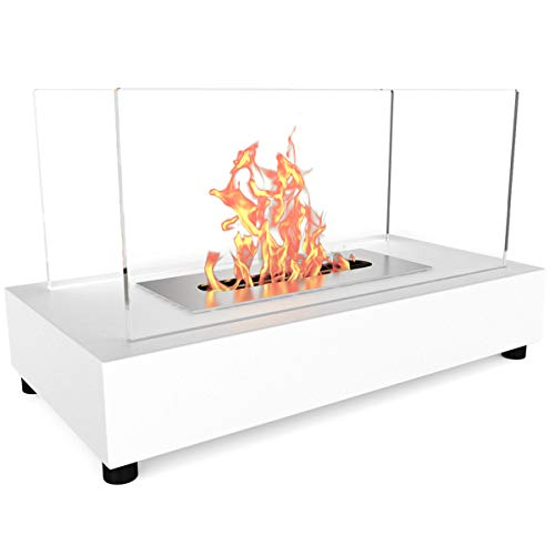 Elite Flame Avon Ventless Table Top Bio Ethanol Fireplace White