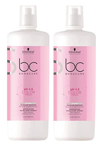 Schwarzkopf 2 er Pack Schwarzkopf BC pH 4.5 Color Freeze Silver Micellar Shampoo 1000 ml