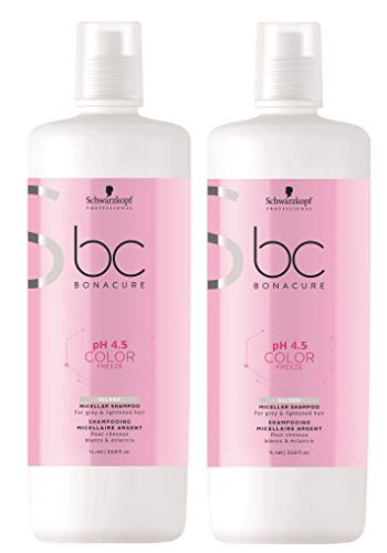 Schwarzkopf 2 er Pack Schwarzkopf BC pH 4.5 Color Freeze Silver Micellar Shampoo 1000 ml
