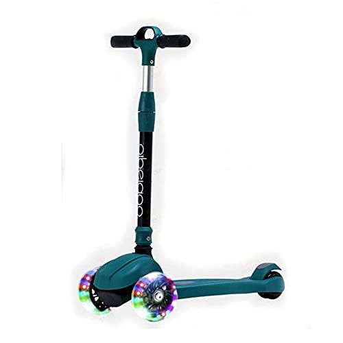 Tastak Patinete de 3 ruedas para niños pequeños, niñas y niños con manillar ajustable para inclinarse hacia la dirección, ruedas intermitentes de PU de plataforma extra ancha para niños de 3 a 12 años