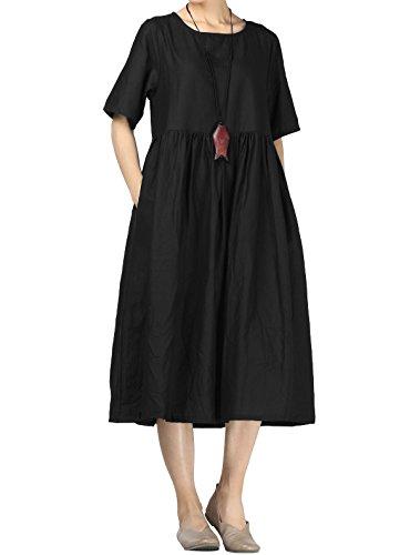 Mallimoda Damen Leinen Sommer Kleider Rundhals Kurzarm Midi Kleid mit Doppelte Taschen Schwarz L