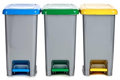 TIENDA EURASIA® Pack 3 - Papeleras de Reciclaje con Soporte para Bolsas - 3 x 15 L - Papel, Vidrio, Plástico - 22 x 39,5 x 30,5 cm