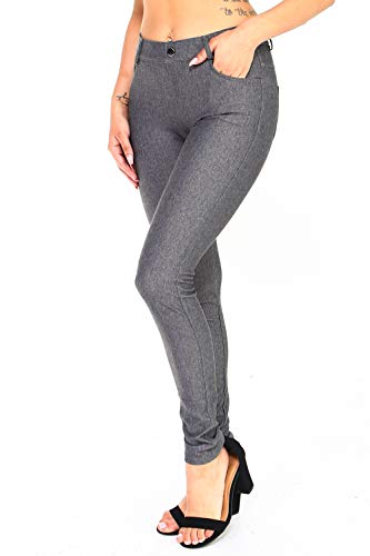 ICONOFLASH Women's Gray Jeggings with Pockets Pull On Skinny Stretch Colored Jean Leggings Size Medium
