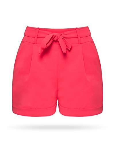 Kendindza Damen Sommer Shorts | Kurze Hose mit Schleife zum binden | Bermuda | Uni-Farben (S/M, Pink Neon)