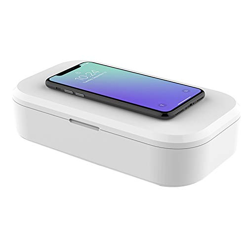 Kdely Desinfektion Drahtlose Ladebox, UV Sterilisationsbox für iPhone SE 2020/11Pro/XS/XR, Samsung Galaxy S20/S20 Ultra/S10/9/8/HUAWEI P40 Pro und andere Handys mit drahtloser Ladefunktion