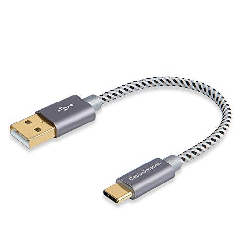 USB Tipo C Cable CableCreation Corto 0.8FT Trenzado Tipo C (USB-C) a USB estándar Cable para Nexus 5X / 6P, OnePlus, el Nuevo Macbook de 12 Pulgadas, Lumia 950 / 950XL y más, Color Gris