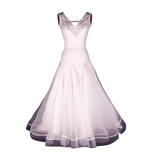LYABANG Lyrical Womens Flowy Kleid Modern Contemporary Dance Kleid Strass Tanzen V-Ausschnitt Weiß Kostüme Expansionsrock Für Leistungswettbewerb Tango Waltz,White-XXL