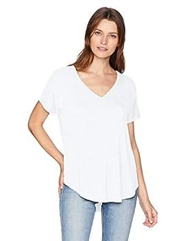 Amazon Brand - Daily Ritual Women s Jersey Short-Sleeve V-Neck Longline T-Shirt white Small