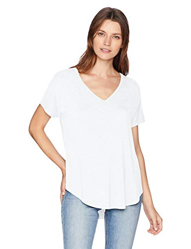 Amazon Brand - Daily Ritual Women's Jersey Short-Sleeve V-Neck Longline T-Shirt, white, Large