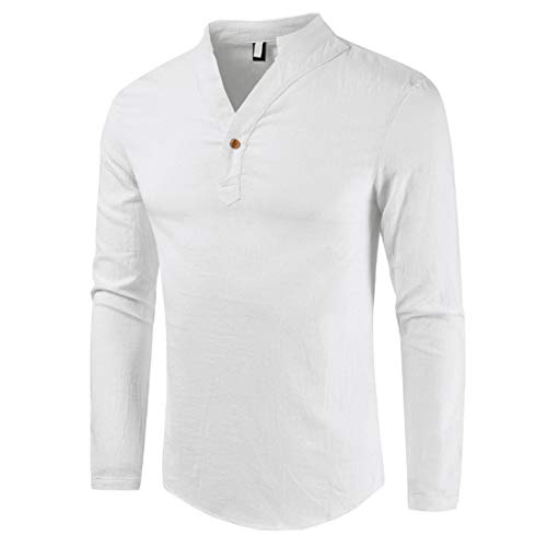 Men's Buttons V Shape Stand-up Collar T-Shirt Long Sleeve Slim Fit Casual Fashion Sweatshirt Outdoor Comfy Gym Clothes for Jogging Work Out top Spring and Autumn New Winter Bottoming Shirt M