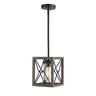 Zeyu 1-Light Farmhouse Pendant Light, Vintage Cage Hanging Light with Clear Glass Shade in Wood and Black Finish, 011-1 WF/BK