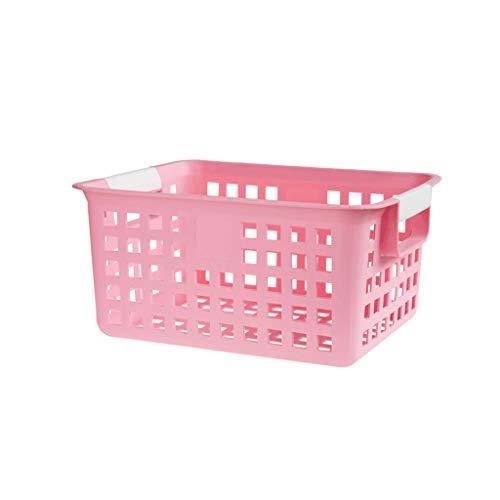 Panier à linge Panier de Rangement Poignée Sèche Panier de Bain antidérapant Boîte à paniers Portable Mini Panier en Plastique Blanc ZHJING (Color : Pink)