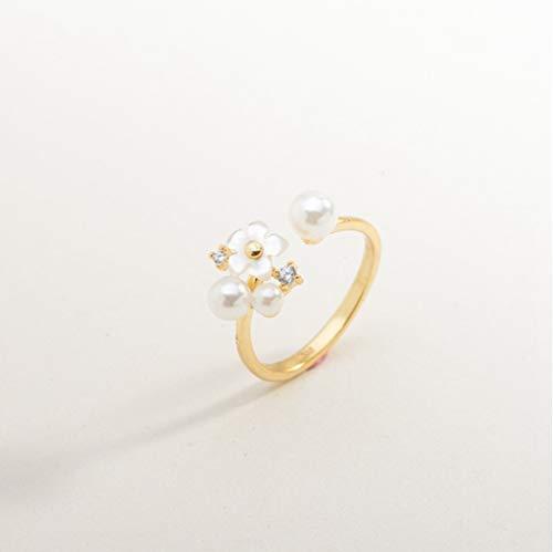 YOYOYAYA Ringe Schmuck S 925 Silber Blumen Perlen Öffnungen Mädchen Termine Delikatessen Geschenke, Kleine (Geeignet Für 4-6-Codes)