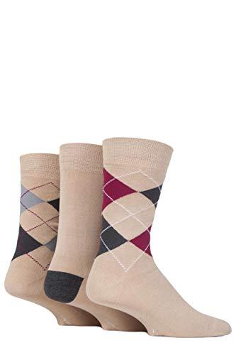Glenmuir Herren 3 Paar Classic Argyle Socken Beige 2 41-46